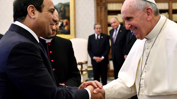 Pope Francis and Egyptian President Abdel Fattah el-Sisi meet at the Vatican.